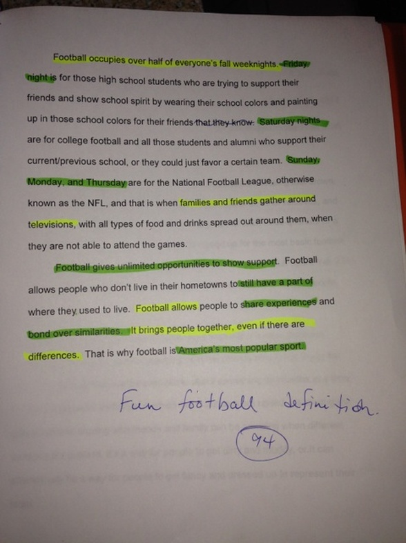 essay football Essay writing guide creative writing: football take the greatest feeling you know and multiply it ten-fold and you are still nowhere near to the feeling of a.
