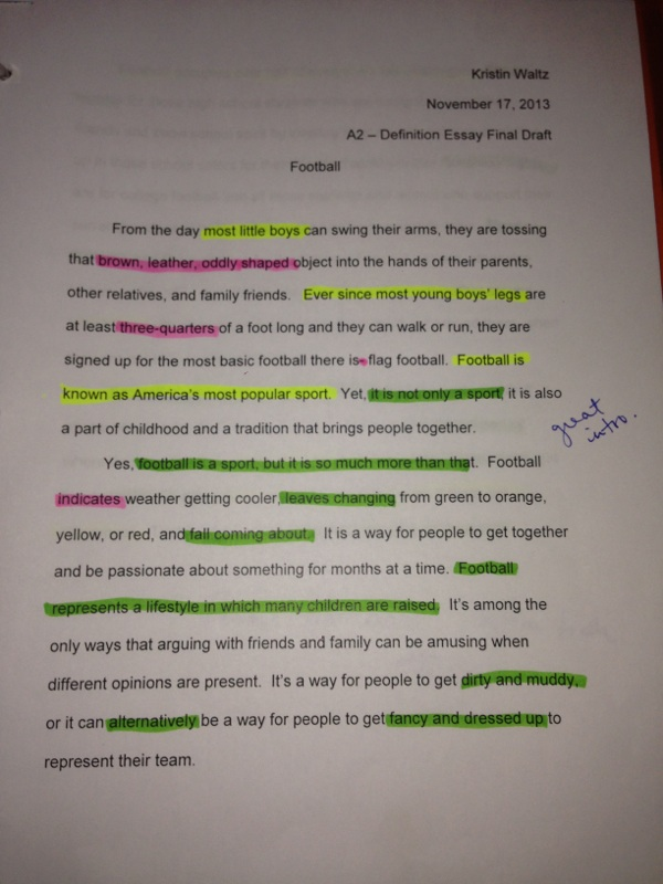 Argumentative essay about football
